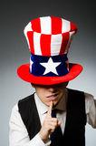 The man wearing hat with american symbols Stock Image