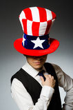 The man wearing hat with american symbols Stock Images