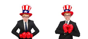 The man wearing hat with american symbols. Man wearing hat with american symbols stock images