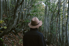 Man wearing hat gloves looking away. Travel cocept.  stock photo