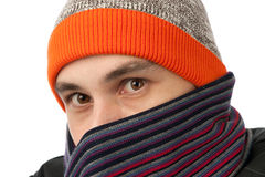 Man wearing a hat and scarf Royalty Free Stock Photos