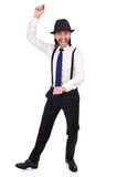 Man wearing hat and suspenders isolated on white Royalty Free Stock Photography