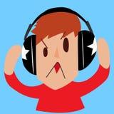 Man wearing headphone. Listen to music Stock Photos