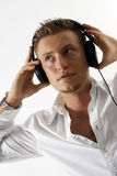 Man wearing headphones Stock Photos
