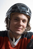 Man Wearing Hockey Uniform - vertical Stock Photos