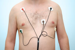 Man wearing holter monitor Stock Photography