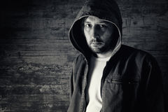 Man wearing jacket with hoodie Stock Photography
