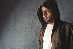 Man wearing jacket with hoodie Royalty Free Stock Photo