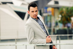 Man wearing jacket and shirt in urban background Stock Photos