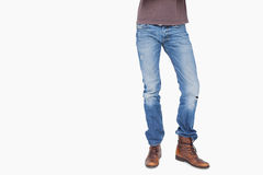 Man wearing jeans and boots Stock Photography