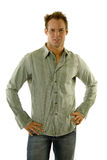 Man wearing jeans and shirt Royalty Free Stock Photo
