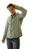 Man wearing jeans and shirt Royalty Free Stock Photos