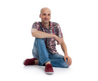 Man wearing jeans and sneakers Stock Photo