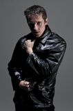 Man wearing a leather jacket Stock Photography