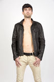 Man wearing leather jacket Stock Images