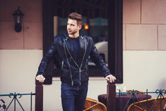 Man wearing a leather jacket Stock Photos