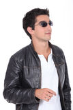 Man wearing leather jacket Stock Image