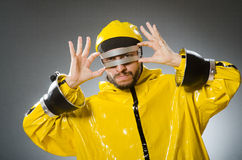 Man wearing metal glasses in techno concept Stock Photo