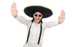 The man wearing mexican sombrero isolated on white. Man wearing mexican sombrero isolated on white stock photos