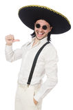 The man wearing mexican sombrero isolated on white Stock Photography