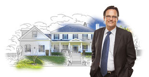 Man Wearing Neck Tie Over House Drawing and Photo Stock Photography