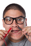 Man Wearing Nerd Glasses Stock Images