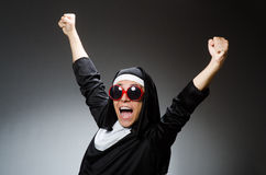 The man wearing nun clothing in funny concept Royalty Free Stock Images