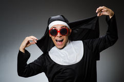 The man wearing nun clothing in funny concept Royalty Free Stock Photos