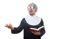 The man wearing nun costume isolated on white Stock Image