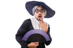The man wearing nun costume isolated on white Stock Images