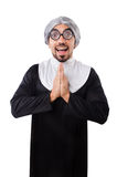 The man wearing nun costume isolated on white Stock Photos