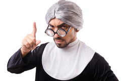 The man wearing nun costume isolated on white Stock Photo