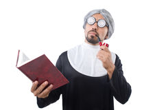 The man wearing nun costume isolated on white Royalty Free Stock Photos