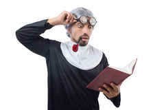 The man wearing nun costume isolated on white Royalty Free Stock Photography