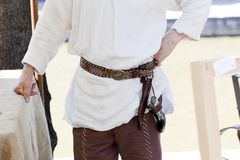 Man Wearing An Old Belt Royalty Free Stock Photo