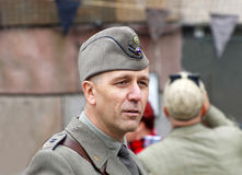Man wearing old fashioned military clothes Stock Photography
