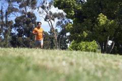 Man wearing orange t-shirt and shorts, jogging on grass in park, surface level, focus on background Stock Photos