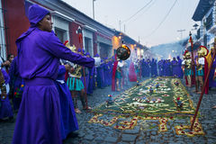 Man wearing purple robes and ancient Roman military clothes during the Easter celebrations, in the Holy Week, in Antigua, Guatemal Stock Image
