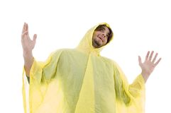Man wearing raincoat and looking upward Royalty Free Stock Photography