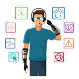 Man wearing reality glasses wired glove interface icons Royalty Free Stock Images