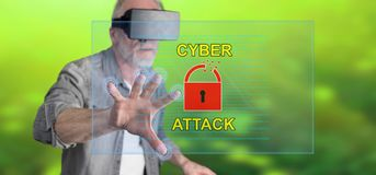 Man wearing a reality virtual headset touching a cyber attack concept on a touch screen. With his finger Royalty Free Stock Image