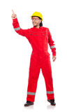 The man wearing red coveralls isolated on white Stock Photos