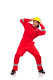 The man wearing red coveralls isolated on white Stock Photography