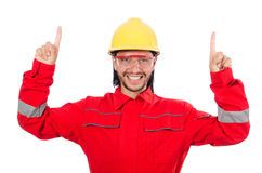 The man wearing red coveralls isolated on white Royalty Free Stock Images