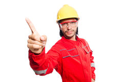 The man wearing red coveralls isolated on white Royalty Free Stock Photography