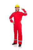 The man wearing red coveralls isolated on white Royalty Free Stock Image