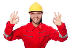 The man wearing red coveralls isolated on white Stock Image