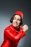 Man wearing red fez hat Stock Image