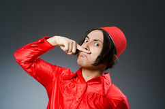 The man wearing red fez hat Royalty Free Stock Images