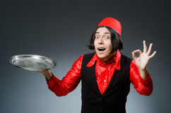 The man wearing red fez hat. Man wearing red fez hat Royalty Free Stock Images